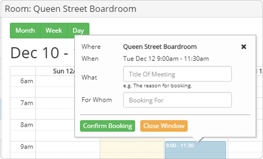 Screenshot Meeting Room Booking